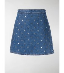 ganni studded denim skirt