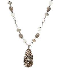 black rhodium-plated sterling silver, moonstone & diamond pendant necklace