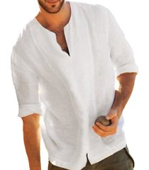 incerun hombres algodón lino chino étnico 3/4 camiseta de manga corta con cuello en v