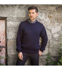 traditional men's aran sweater light navy l