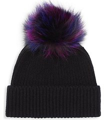 knit cashmere & fox fur beanie