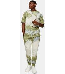 mens multi khaki and ecru tie dye t-shirt