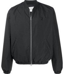 black zipped bomber jacket