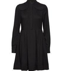 front yoke detail dress jurk knielengte zwart calvin klein
