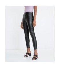 calça legging em material sintético com recortes frontais | cortelle | preto | pp