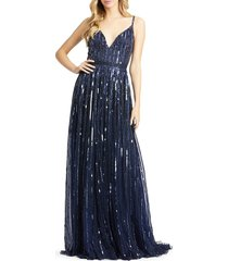 mac duggal women's burst sequined a-line gown - midnight - size 2