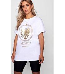 plus tiger foil print t-shirt, white
