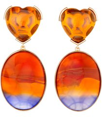 stripe agate and citrine heart earrings