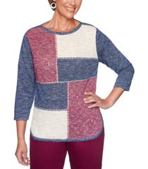 alfred dunner petite autumn harvest colorblocked sweater