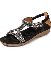 sandalias de diamantes de imitación de triángulo hueco mujer-negro