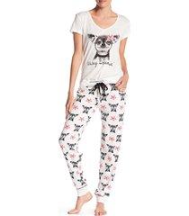 pj salvage s always on vacay lounge pajama pants and shirt set ivory dog print