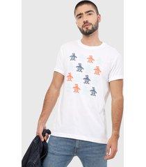camiseta blanco-azul-naranja original penguin