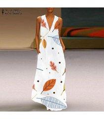 zanzea de las mujeres sin mangas escotado vestido del tanque de hojas de impresión vestido de la camisa del lunar -blanco