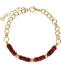 bracciale in ottone rodiato con elementi conchiglia rossi per donna