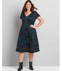 lane bryant women's v-neck fit & flare dress 10/12 teal print
