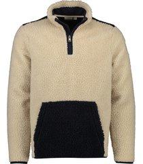 napapijri fleece trui beige donkerblauw