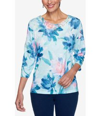 alfred dunner petite floral-print lace-trim top