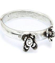 anel  duas flores  prata 925