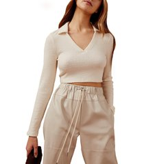 women's topshop ribbed crop top, size 14 us - ivory