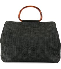 chanel pre-owned 1998's tortoiseshell handle tote - black