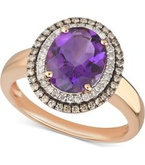 amethyst (2-1/3 ct. t.w.) & diamond (1/3 ct. t.w.) ring in 14k rose gold