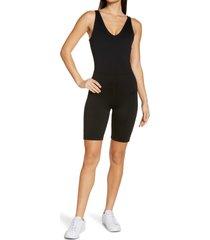 zella renew print bike shorts bodysuit, size xx-large in black at nordstrom