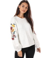 only womens anna embroidered crew sweatshirt size 4 in cream
