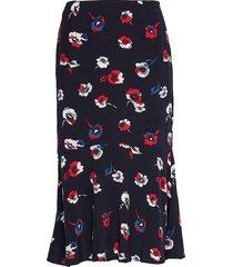 d1. printed ruffle skirt knälång kjol blå gant