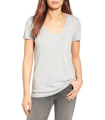 women's caslon rounded v-neck t-shirt, size medium - grey