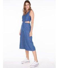 macacãµes khelf macacão jeans recorte lateral azul marinho - azul marinho - feminino - dafiti