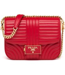 prada stitched leather shoulder bag - red
