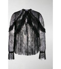 self-portrait ruffle trim lace blouse