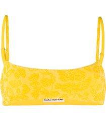 mara hoffman floral embroidered slip-on bikini top - yellow