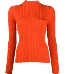 acne studios high-neck ribbed top - orange