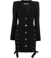 lace up v-neck tweed mini dress