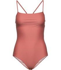 shiny strap swimsuit baddräkt badkläder rosa filippa k soft sport