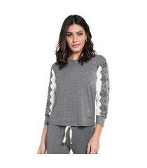pijama manga 3/4 com calça flare lace feminino