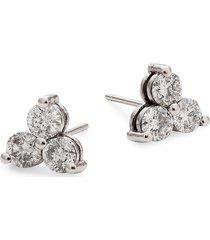 diana m jewels women's 14k white gold & 1.25 tcw diamond stud earrings