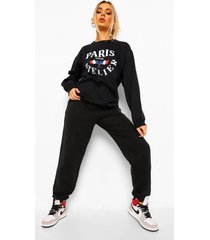 paris trainingspak met sweater en opdruk, black