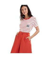 t shirt listrado com bordado himalaya vermelho romã/ branco - g