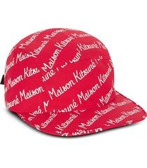 maison kitsuné designer men's hats, maison kitsune 5p red cotton canvas baseball cap
