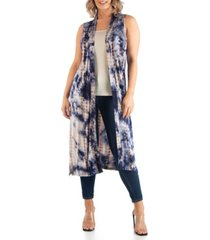 24seven comfort apparel women's plus size tie dye sleeveless cardigan