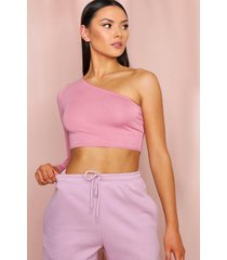 one shoulder long sleeve crop top, rose pink