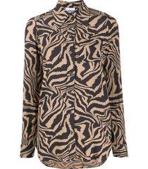 ganni tiger swirl print buttoned shirt - neutrals