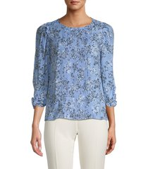 nanette nanette lepore women's floral-print pleated blouse - blue - size xl