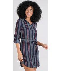 vestido chemise curto listrado manga longa azul marinho