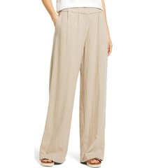 women's caslon wide leg pull-on pants, size large - brown