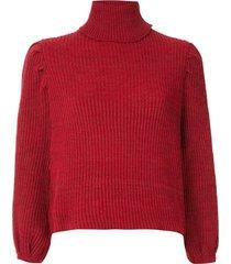 framed top cropped de tricô - vermelho