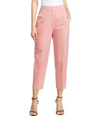 fedora high-waist seersucker ankle pants