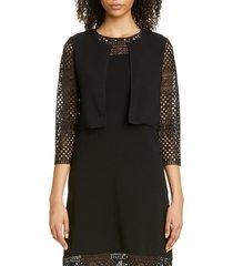 women's carolina herrera guipure lace sleeve crop cardigan, size x-large - black